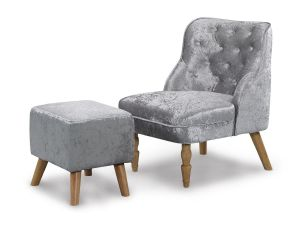 Shirley CRUSHED SILVER ARMCHAIR & STOOL
