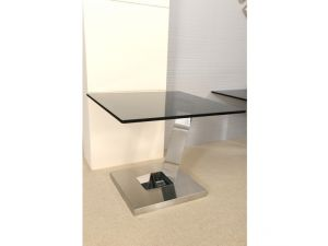 Fairmont Donatella Glass and Stainless Steel Side Table