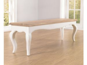 Sienna Acacia and Painted Ivory Bench