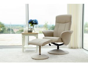 Siena Café Latte Leather Swivel Recliner With Footstool