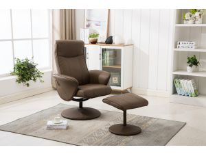 Siena Truffle Leather Swivel Recliner With Footstool