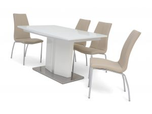 Fairmont Silvio Ext White High Gloss Dining Table + 4 Ava Chairs