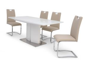 Fairmont Silvio Ext White High Gloss Dining Table + 4 Gabi Chairs