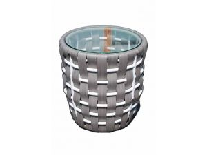Skyline Strips Rattan Round Side Table