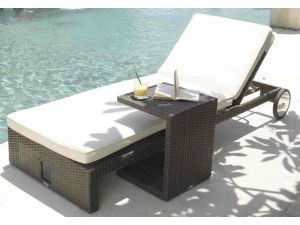 Skyline Miami Rattan Sun Lounger With Side Table