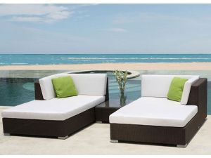Skyline Pacific Chaise Lounge Rattan Set With Side Table