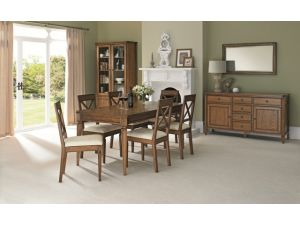Bentley Designs Sophia Oak 4-6 Seater Ext. Dining Table & 6 'X' Back Chairs