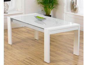 Sophia High Gloss White Dining Table With a White Glass Top