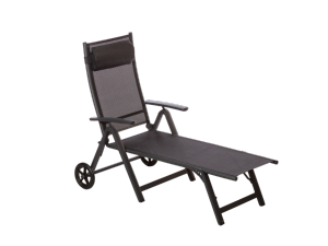 Royalcraft Sorrento Black Folding Sun Lounger with Wheels