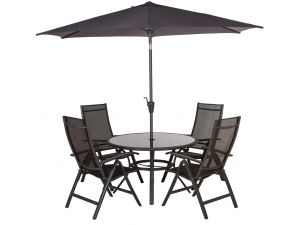 Royalcraft Sorrento 4 Seater Round Black Recliner Set With Parasol
