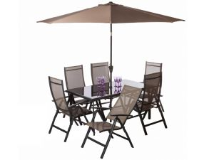 Royalcraft Sorrento 6 Seat Taupe Recliner Set With Free Parasol