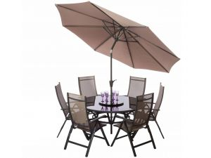 Royalcraft Sorrento 6 Seater Round Taupe Recliner Set With Parasol