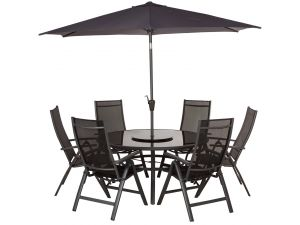 Royalcraft Sorrento 6 Seater Round Black Recliner Set With Parasol