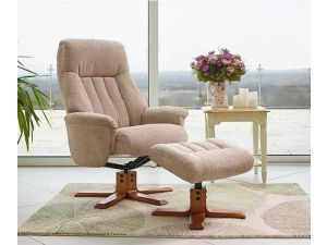 St Tropez Cobble Fabric Swivel Recliner Chair and Footstool