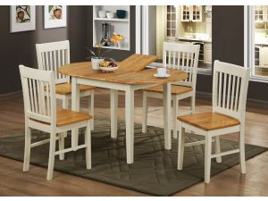 Stacy Brown Hardwood Dining Table With 4 White Chairs