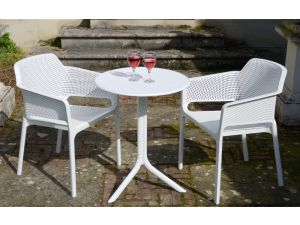 Europa White Step Standard Set With 2 Net Chairs