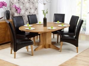 Monte Carlo Solid Oak Extending Dining Table + 6 Roma Leather Chairs