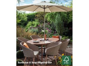 Hartman Sunburst 6 Seater Elliptical Oval Rattan Garden Set + Cushions + Parasol