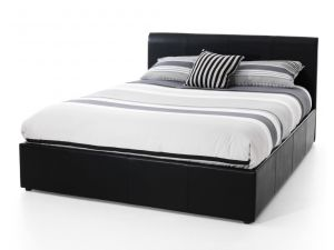 Serene Tuscany Ottoman 5ft King Size Black Leather Bed