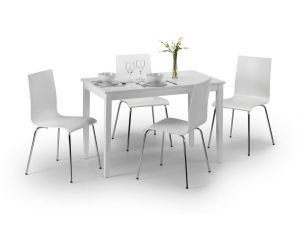 Julian Bowen Taku White Dining Table and 4 Mandy White Chairs