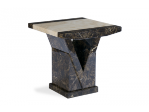 Toledo Brown and Cream Marble Effect Lamp Table