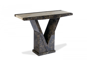 Toledo Brown and Cream Marble Effect Console Table
