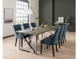Tephra 230cm Rect.Grey Dining Table + Hobbs Blue Fabric Chairs