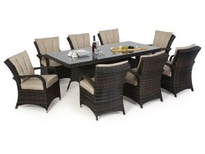 Maze Texas 8 Seat Rectangle Rattan Dining Set - Brown