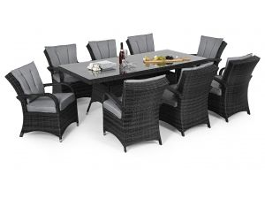 Maze Texas 8 Seat Rectangle Rattan Dining Set - Grey