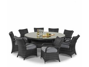 Royalcraft Dallas 8 Seater Grey Rattan Round Dining Set