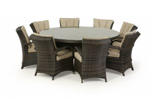 Royalcraft Dallas 8 Seater Brown Rattan Round Dining Set