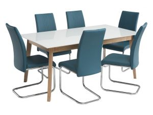 Toledo 1.67m White Glass Dining Table with 6 Monaco Teal Leather Chairs
