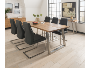 Trier 210cm Rect.Oak Dining Table + Luciana Grey Leather Chairs
