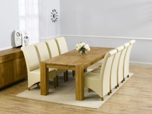 Madrid 300cm Solid Oak Extending Dining Table + 8 Barcelona Leather Chairs