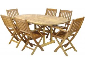 Royalcraft Turnbury 6 Seater Ext. Dining Table with Manhattan Armchairs