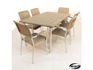 Europa Turtle Dove Maestrale 220 Standard Table With 6 Musa Chairs