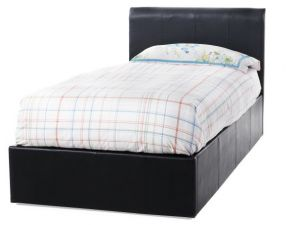 Serene Tuscany 3ft Single Black Faux Leather Ottoman Bed