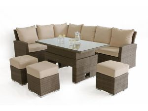 Maze Tuscany Kingston Brown Rattan Corner Sofa Dining Set With Rising Table