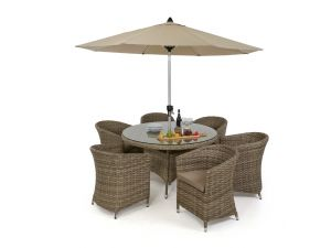 Maze Milan Rattan 6 Seat Round Dining Set with Round Chairs - Beige Cushions