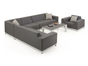 Maze Divano Devane 4 Seat Corner Sofa with Chair And Glass Coffee Table