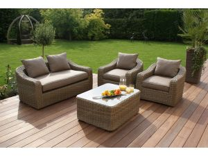 Maze Milan Rattan 2 Seat Rounded Sofa Set - Beige Cushions
