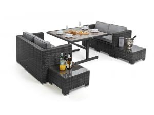 Maze 8 Seat Rattan Cube Sofa Set - Grey