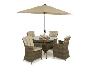 Maze Winchester Rattan 4 Seat Round Dining Set with Carver Chairs