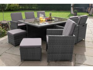 Maze 7pc 6-10 Seat Rattan Cube Dining Set with Footstools - Grey