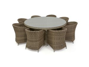 Maze Milan Rattan 8 Seat Round Dining Set with Round Chairs - Green Cushions