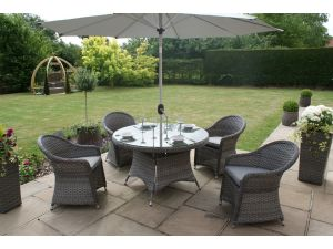 Maze Victoria 4 Seat Rattan Round Dining Set with Round Chairs - Grey