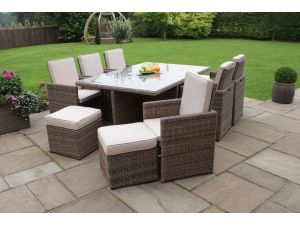 Maze Winchester 7pc 6-10 Seat Rattan Cube Set with Footstools