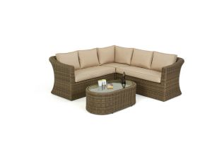 Maze Winchester Rattan Small Corner Sofa Set wth Oval Coffee Table