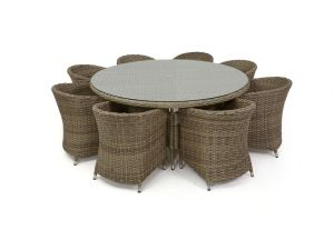 Maze Milan Rattan 8 Seat Round Dining Set with Round Chairs - Beige Cushions
