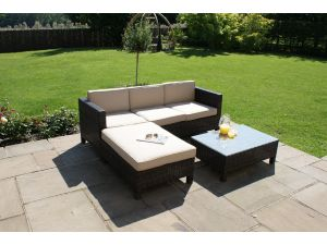 Maze Baby LA 3 Seat Rattan Corner Sofa Set - Brown